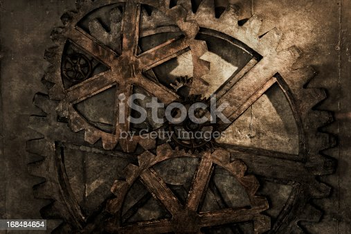 A stock photo of a grungy steampunk gear background.