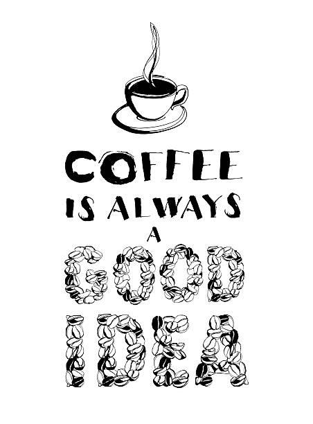 grunge handgezeichnet tinte kaffeetasse mit dampf, gerösteten bohnen - flyer inspiration stock-fotos und bilder