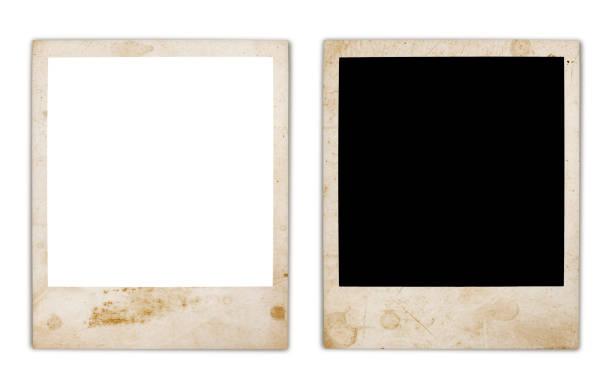 grungy instant photo frame variation (mit innen-und außenwegen) - polaroid stock-fotos und bilder