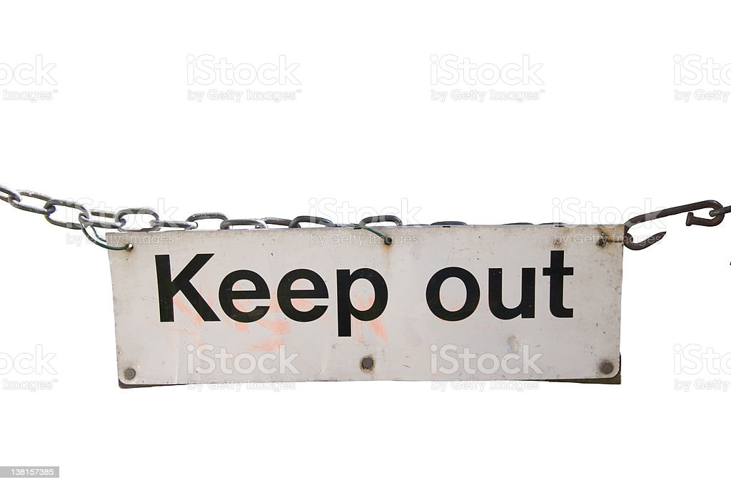 Grungy keep out sign stock photo