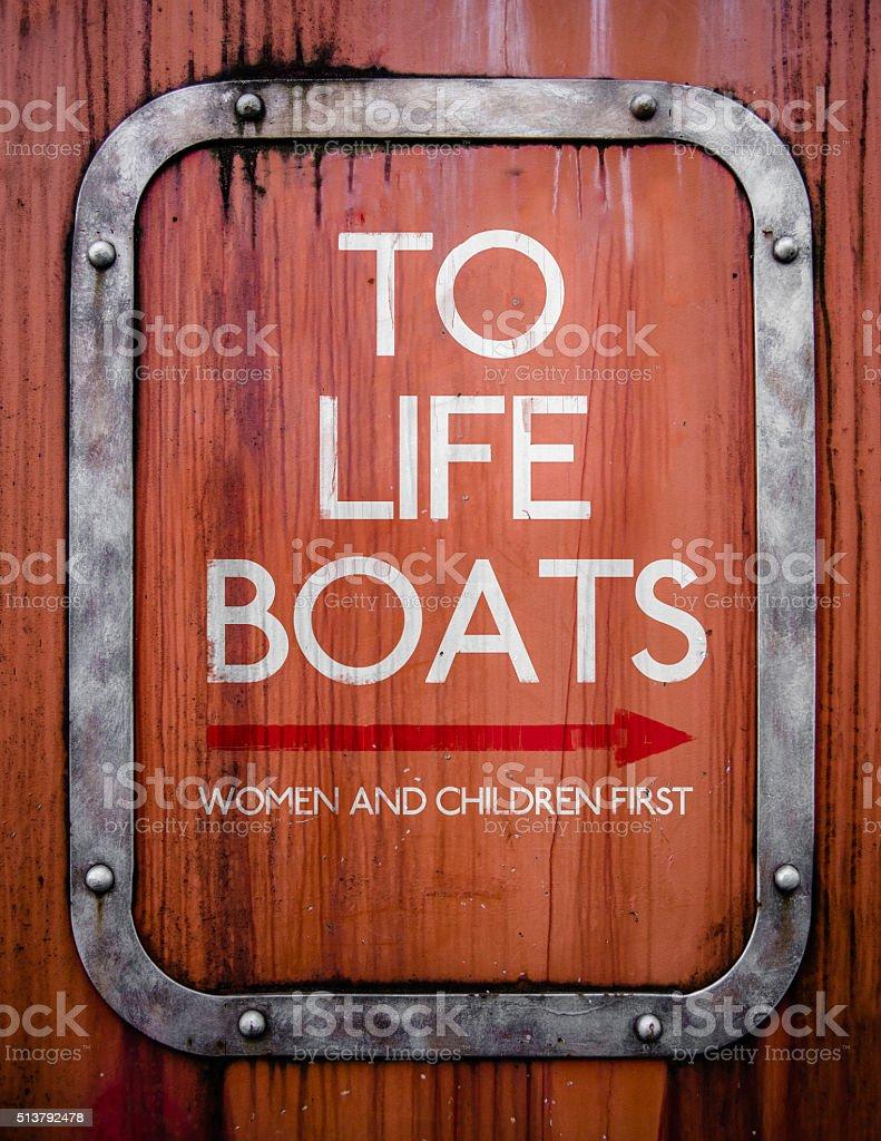 Grungy Life Boats Sign stock photo