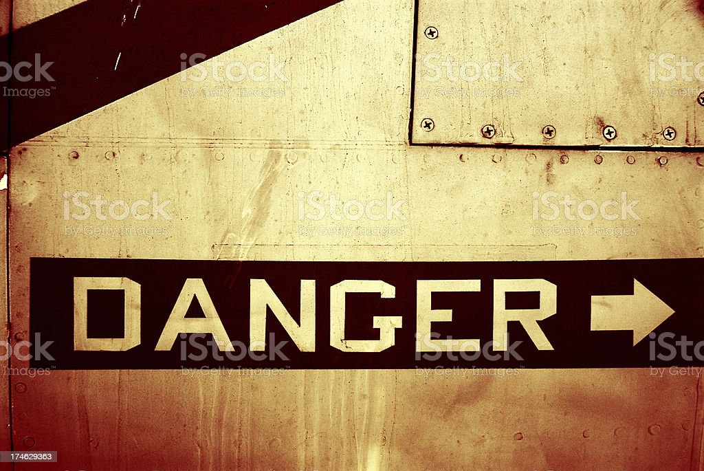 Grungy Metallic Danger Sign royalty-free stock photo