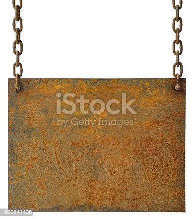 A pitted and weathered old rusty metal sheet background or sign hanging by old rusty chains, lots of weathered grunge character. Isolated on white, clipping path included.