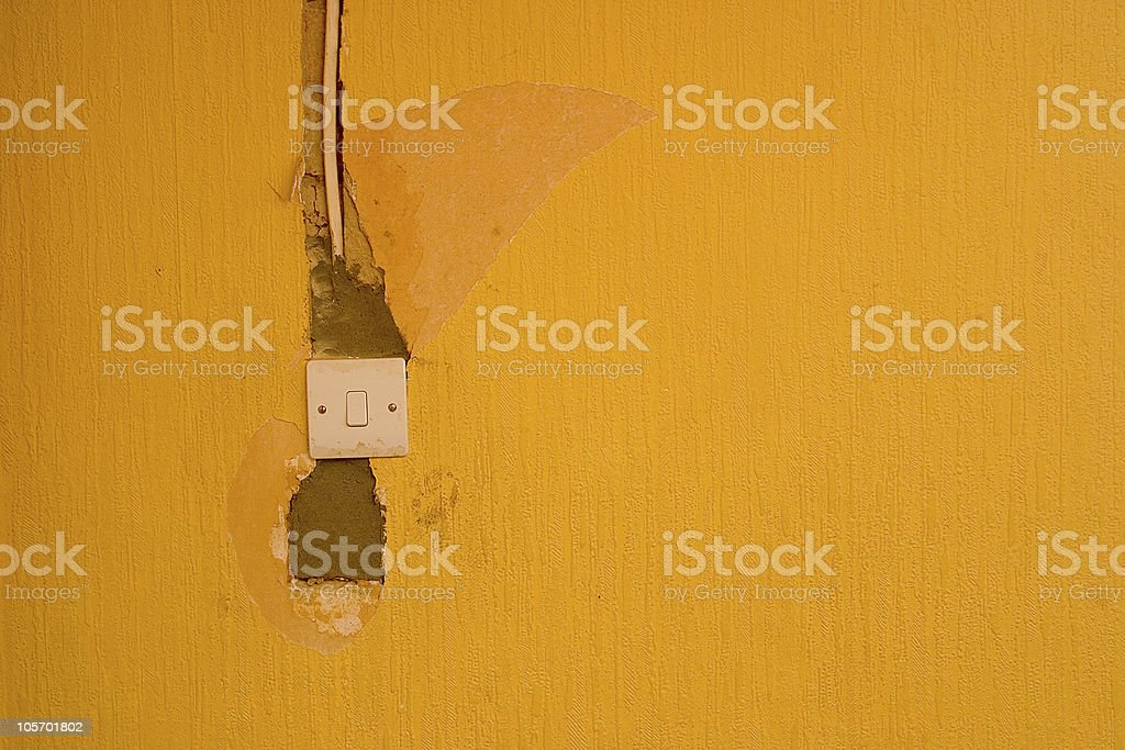 Grungy Old Yellow Wall royalty-free stock photo