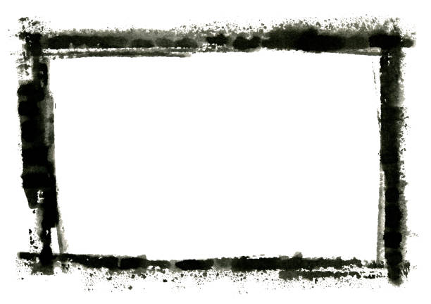 Grungy Painted Texture Border Background Grungy painted texture border background. black border stock pictures, royalty-free photos & images