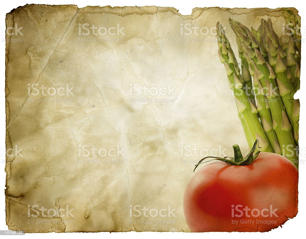 Grungy Paper with Tomato and Asparagus (includes Clipping Path) royalty-free stock photo