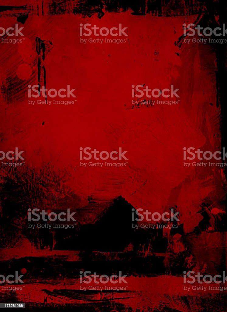 Grungy red and black farm landscape royalty-free stock photo
