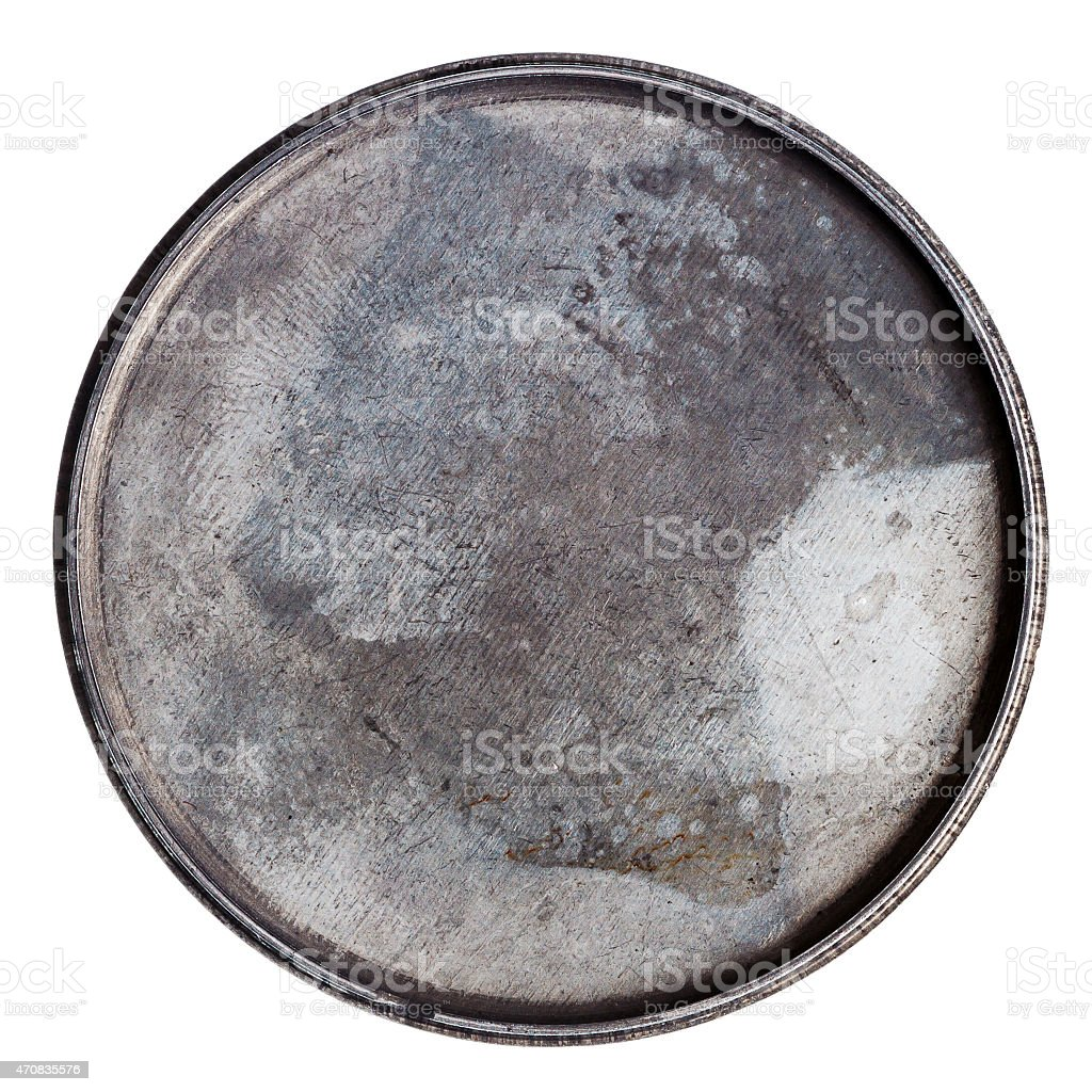 Grungy round metal plate stock photo