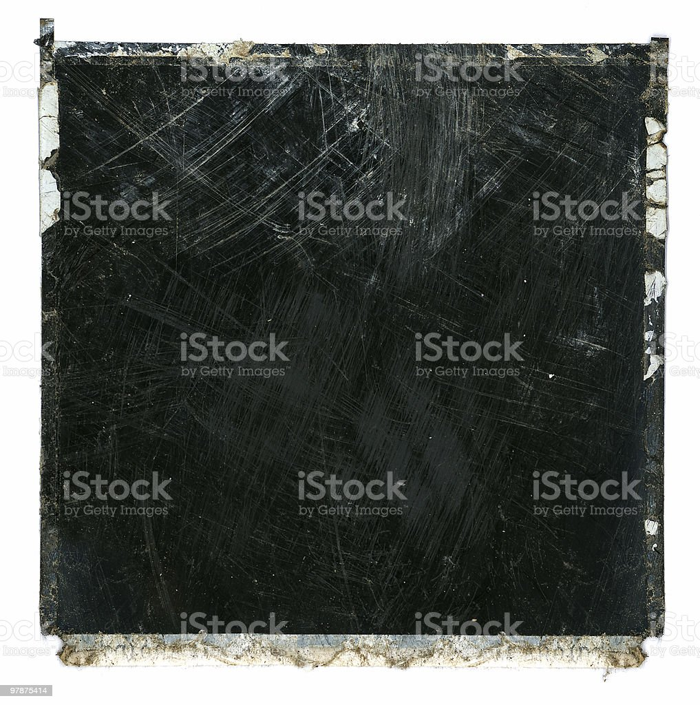 Grungy ruined scratched film frame stock photo