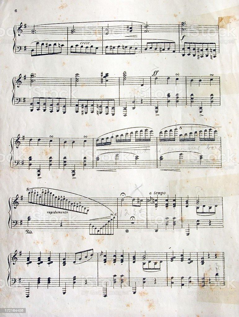 grungy sheet music royalty-free stock photo
