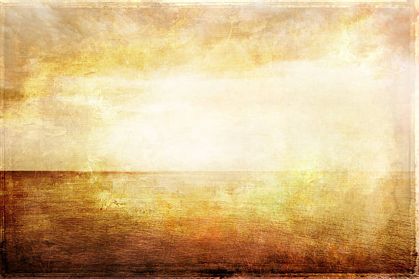Grungy vintage image of light, sea and sky stock photo