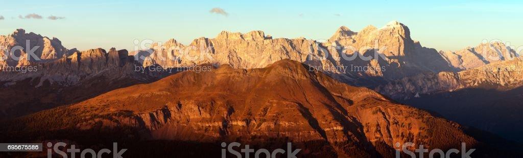 Gruppo di Tofana or Tofane Grupe, alps dolomites stock photo