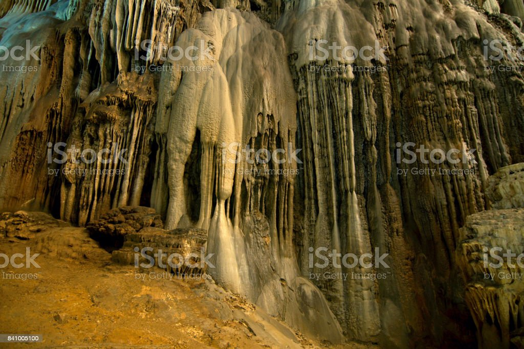 CACAHUAMILPA, MEXICO - 2010: Grutas de Cacahuamilpa (Cacahuamilpa caves) is one of the largest cave systems in the world. stock photo