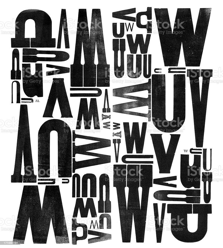 Gruunge Wood Type Letters U V W royalty-free stock photo
