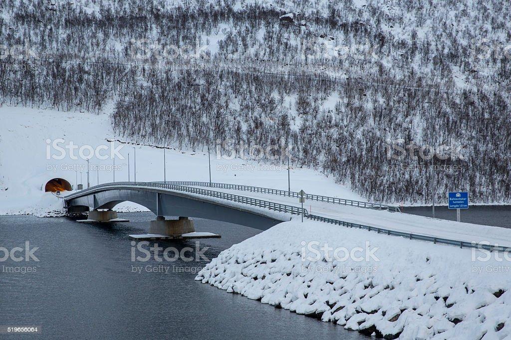 Gryllefjord-bridge stock photo