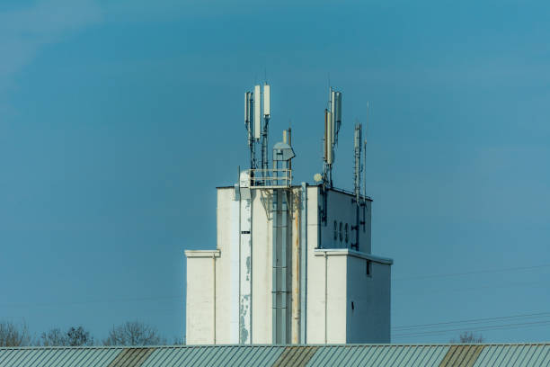 gsm Antennas on old industrial building stock photo