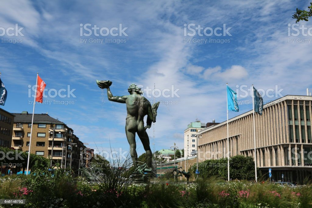 Götaplatsen and Kungsportsavenyen in Gothenburg under blue sky, Sweden Skandinavien stock photo