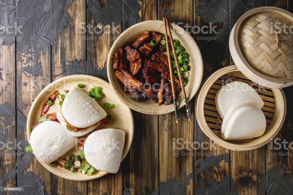 Gua bao buns with pork stock photo