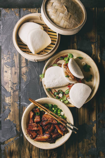 Gua bao buns with pork stock photo