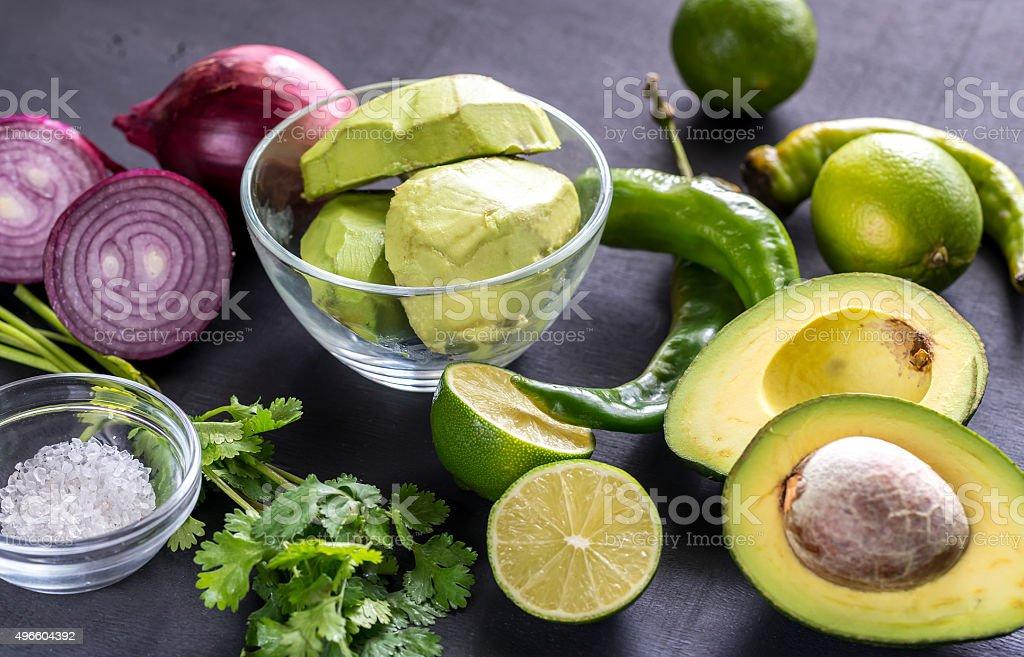 Guacamole ingredients stock photo