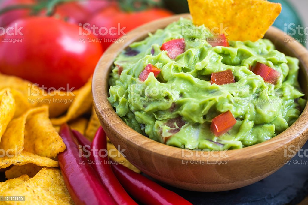 Guacamole made from fresh ingredients stock photo