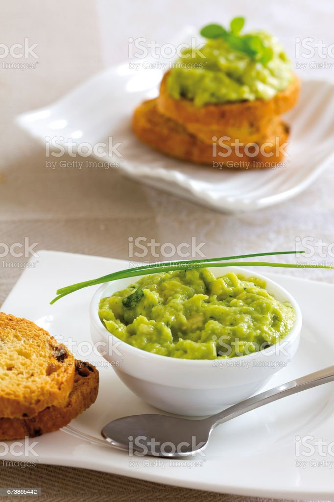 Guacamole tost royalty-free stock photo