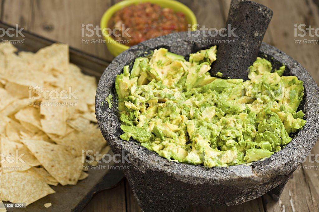 Guacamole Salsa And Chips stock photo