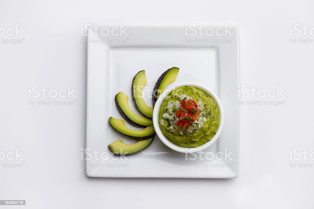 Guacamole with Avacados on a plate stock photo