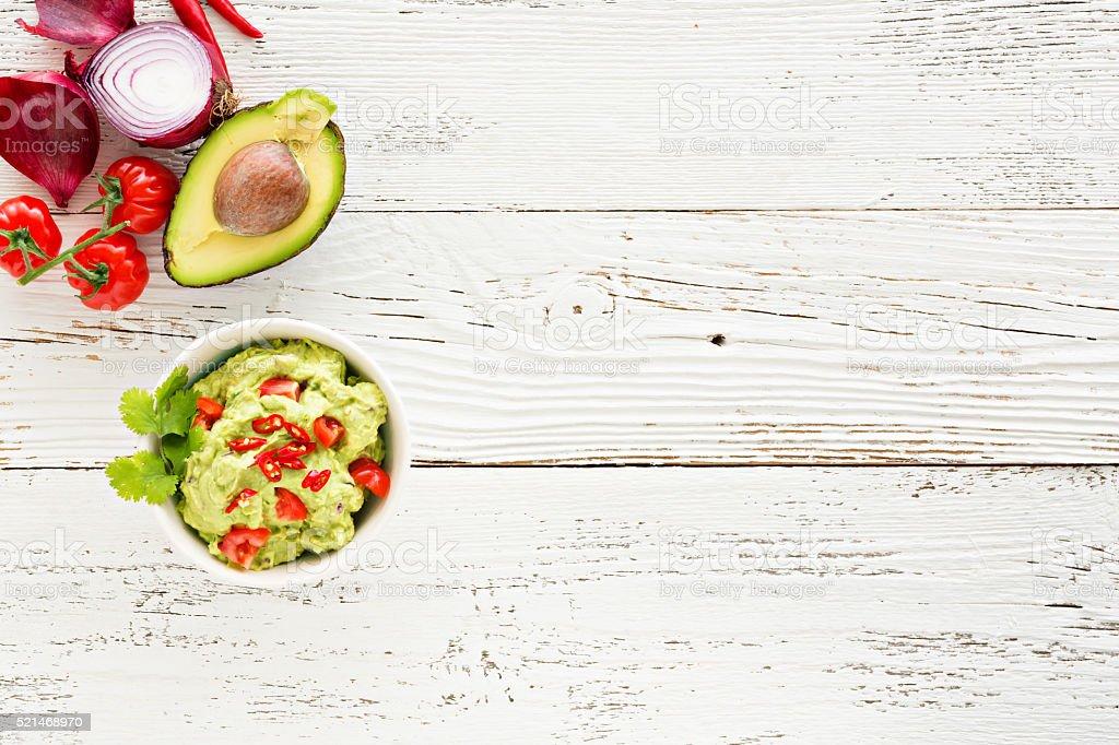 Guacamole Mit Avocadotomaten Und Mexikanisches Essen Weiße Hölzerner