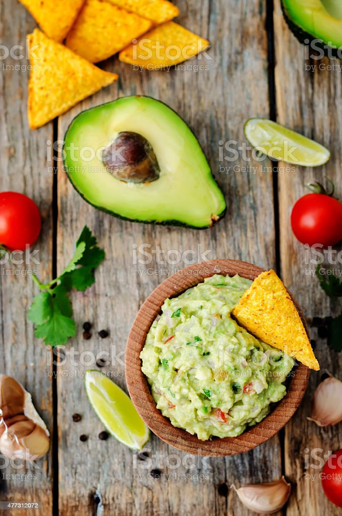 guacamole with corn chips stock photo