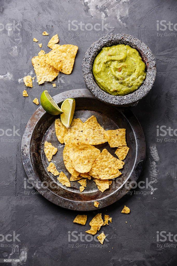 Guacamole with nachos stock photo