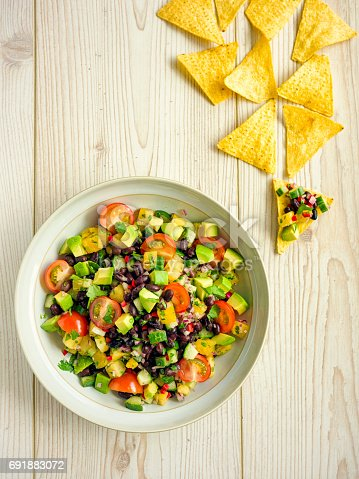 Home made freshness guacamole,pine apple salsa with black beans,service with tortilla chips
