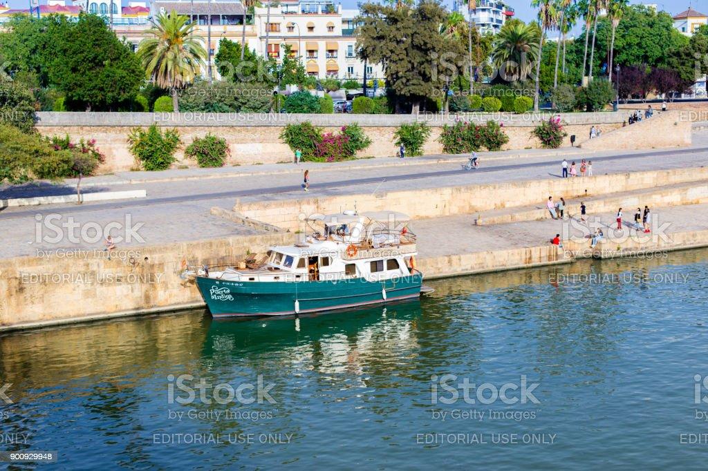 Guadalquivir River Boat Cruise In Seville. Spain stock photo