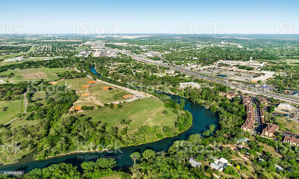Guadalupe River Interstate 35 New Braunfels Aerial View