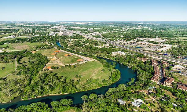 Guadalupe River, Interstate 35, New Braunfels, Aerial view stock photo