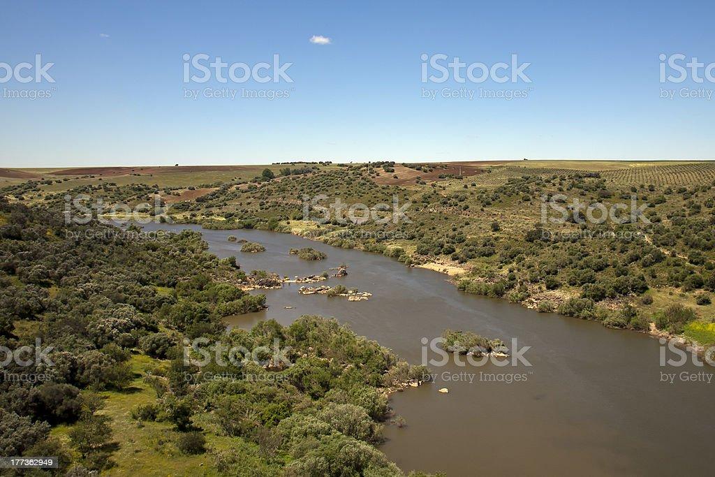 Guadiana river near Spain, in the Alentejo stok fotoğrafı