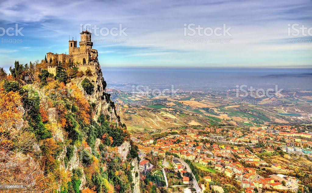 Guaita, the First Tower of San Marino stock photo