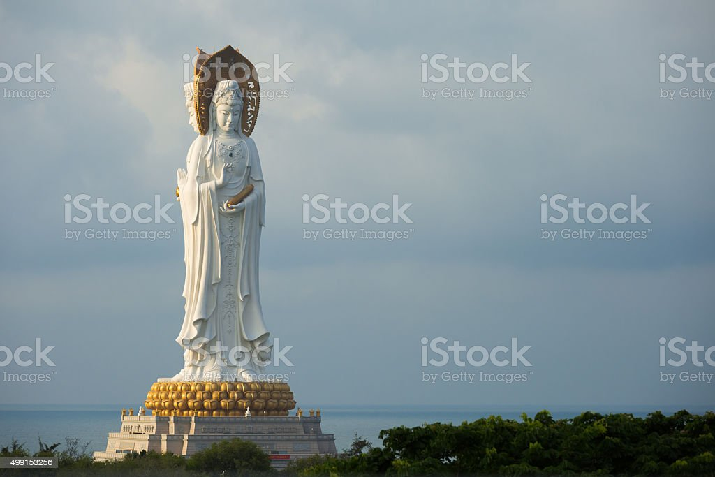 Guan Yin white marble statue in China stock photo