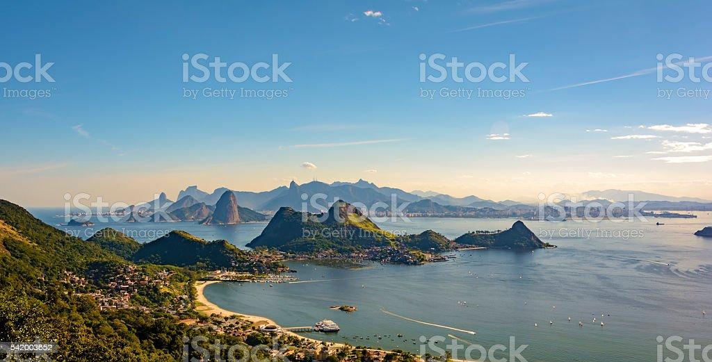 Guanabara bay and hills stock photo