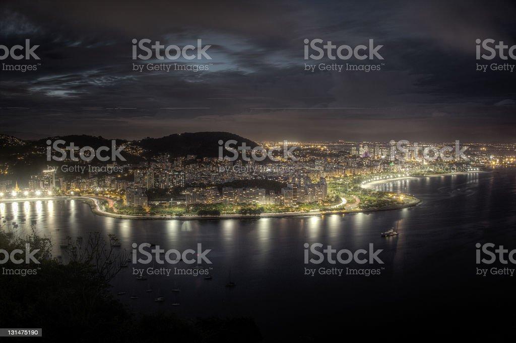 Guanabara Bay lights stock photo