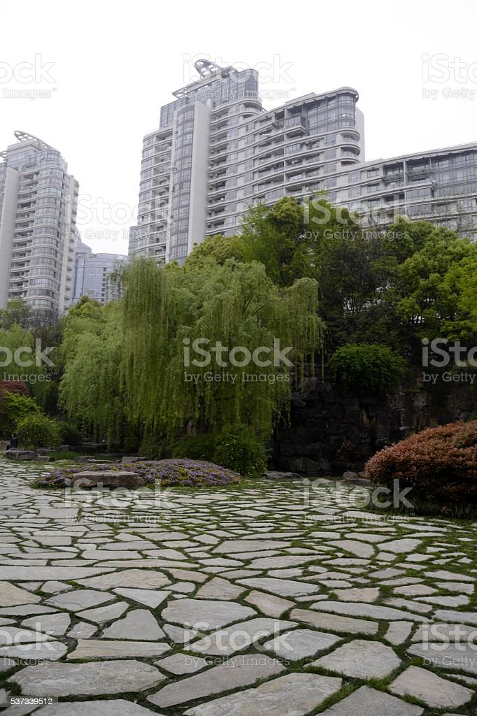 Guang Chang park, Shanghai, China stock photo
