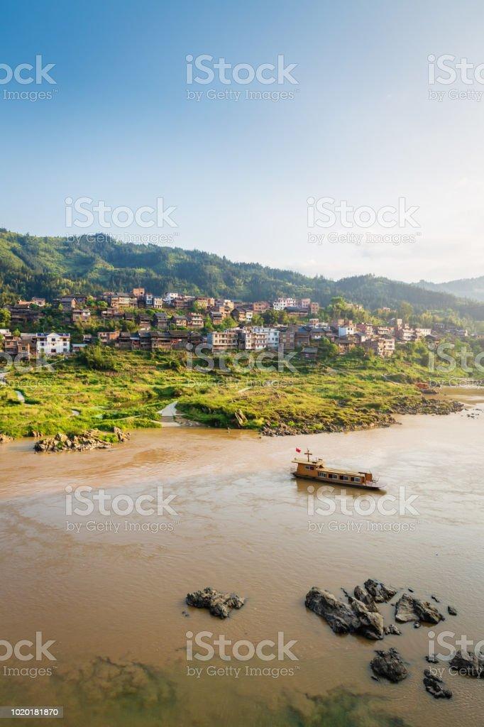 Guangxi Duliu River Village Ferry China stock photo