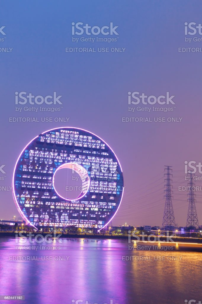 Guangzhou Circle building beside river at night royalty-free stock photo