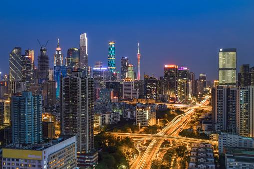 Guangzhou,China July 23,2021. Guangzhou Tianhe CBD, Aerial photography of Guangzhou city architecture night view.