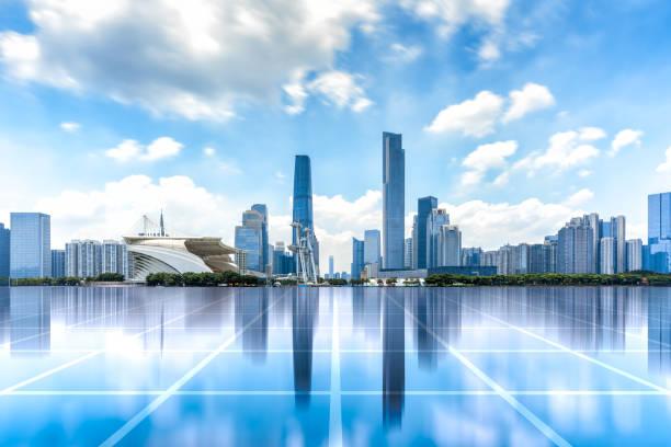 Paisaje de la ciudad de Guangzhou y el concepto de ciencia y tecnología - foto de stock