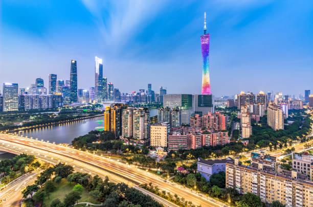 Horizonte de la ciudad de Guangzhou - foto de stock