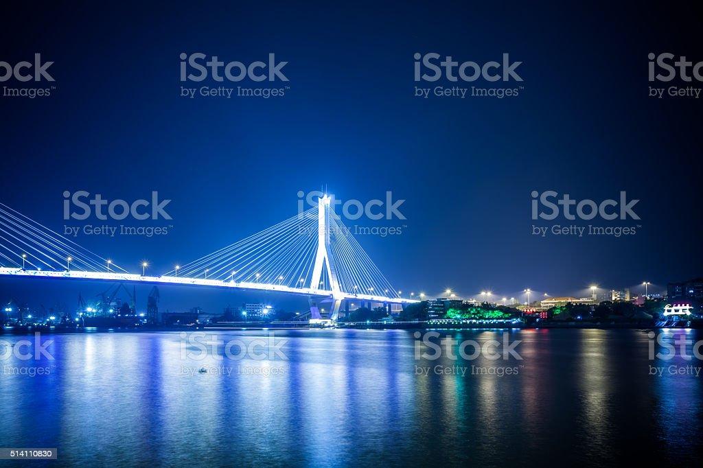 Guangzhou Hedong Bridge Night stock photo