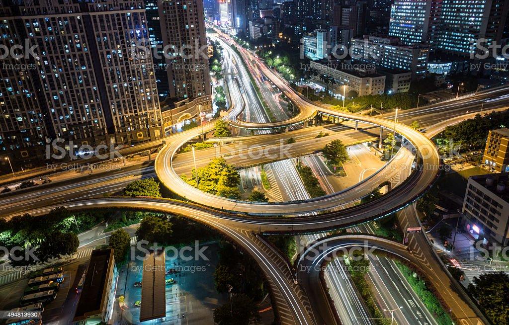 Guangzhou Huangpu overpass Night stock photo