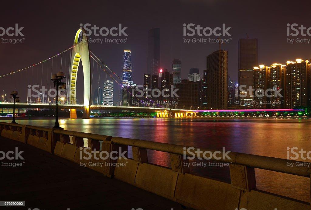 Guangzhou modern city landmark buildings of night scene stock photo