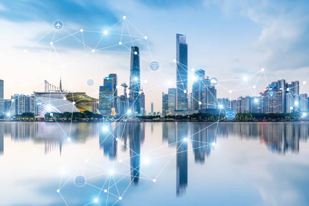 Guangzhou rápido desarrollo en la ciudad, espacio de big data - foto de stock